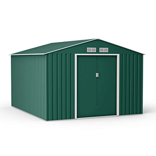 BillyOh Ranger Dark Green Apex Hot-Dipped Galvanized Metal Garden Storage Shed Outdoor Tool Box with Foundation Kit (9x10)