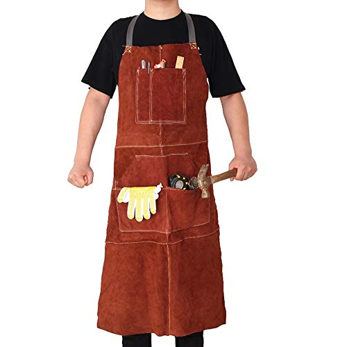 Leather Welding Work Shop Aprons – Heavy Duty Cowhide Adjustable Strap Heat Flame Resistant Safety Apparel 42 x 24 for Blacksmith woodworking Mechanics Carpenter with Tool Pockets (Gloves Included)