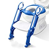 Potty Training Toilet Seat with Step Stool Ladder for Kids Children Baby Toddler Toilet Training Seat Chair with Soft Cushion Sturdy and Non-Slip Wide Steps for Girls and Boys (Blue White)