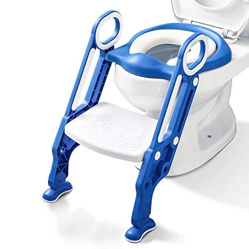 Töpfchentrainer Kinder-Töpfchen Toilettensitz Trainer Sitz für Kinder Toiletten Training mit Leiter Treppe, Rutschfest stabil klappbar für 1-7 jährige Kids