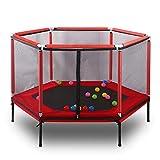 YXLONG Trampolin Infantil Poligono Estable con Red Seguridad Cama Elástica Portátil Múltiples Funciones Dos Colores,Red