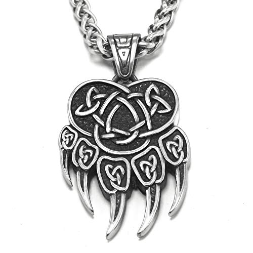 BaviPower Bear Paw Pendant Necklace with Celtic Knot Pattern ♦ Stainless Steel ♦ Nordic Scandinavian Necklace ♦ Authentic Viking Jewelry