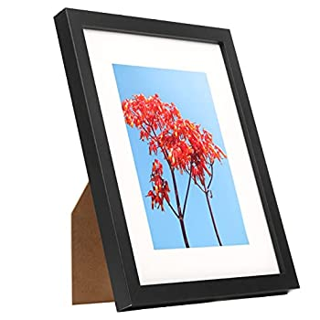8x10 Black Picture Frame Solid Wood Picture Frame 8x10, Display Pictures Frame 5x7 with Mat or 8x10 Without Mat Black Wooden Picture Frames Collage for Wall and Tabletop 8x10 Frame  WYD0810M57
