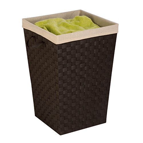 Honey-Can-Do HMP-03057 Woven Strap Hamper with Liner, Espresso Black