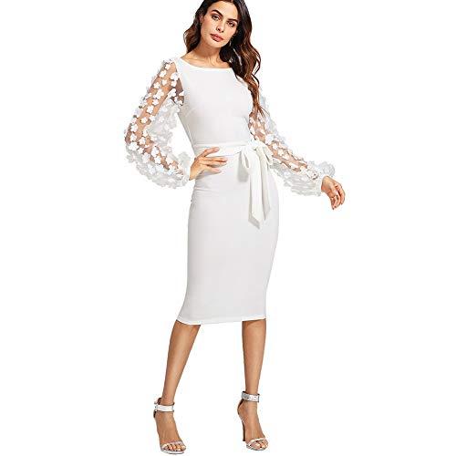 DIDK Damen Netz Figurbetontes Kleid Schlauch Kleider mit Knoten Gürtel Stickerei Blumen Applikation Bishop, L, Weiß U-Boot Ausschnitt