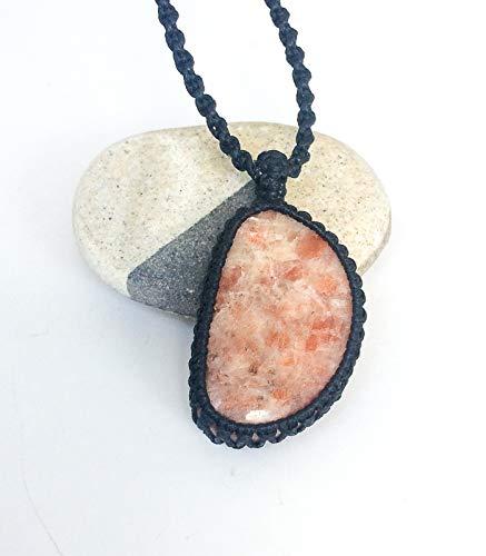 Handmade Natural Gem Macrame Necklace with Sunstone  METAL FREE