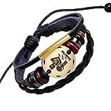 SLVVL Pulsera de Cuero Premium para Hombre en Hombre y Mujer de Acero Inoxidable Pulsera de Cuero Acuario