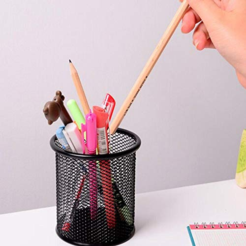 [4 Pack] Pen Holder - Pencil Holder for Desk - Metal Mesh Office Desk Pen Organizer Holders - Medium Sized Black Pen Cup Pencil Cup Photo #2