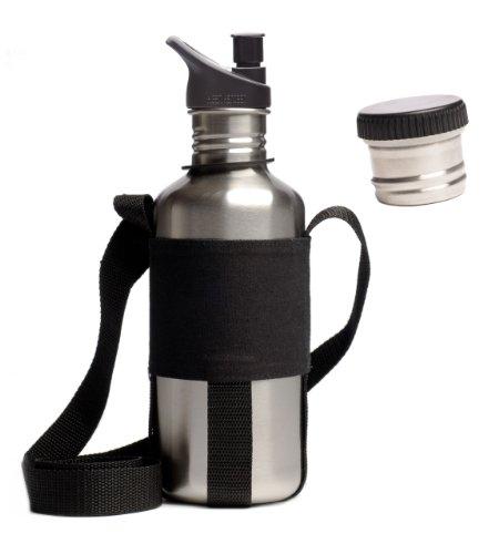 Klean Kanteen Botella de agua de acero inoxidable de 18 onzas clásica, Poly Sport Cap 2.0