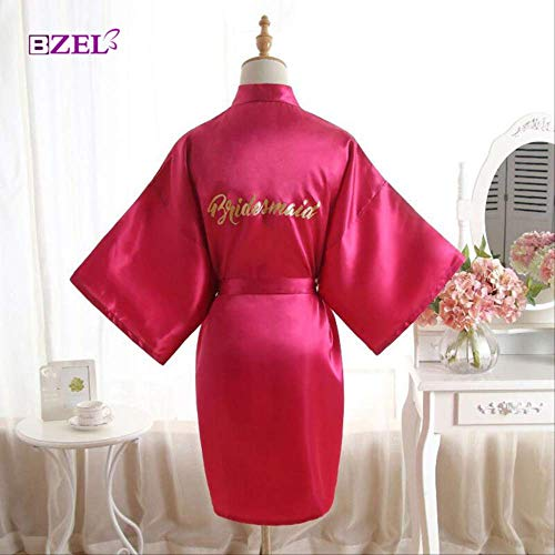 XFLOWR Vrouwen Zijde Satijn Bruidsmeisje Bruid Jurk Korte Bruiloft Kimono Robes Maid Moeder Van De Bruid Nachtjapon Slaapmode