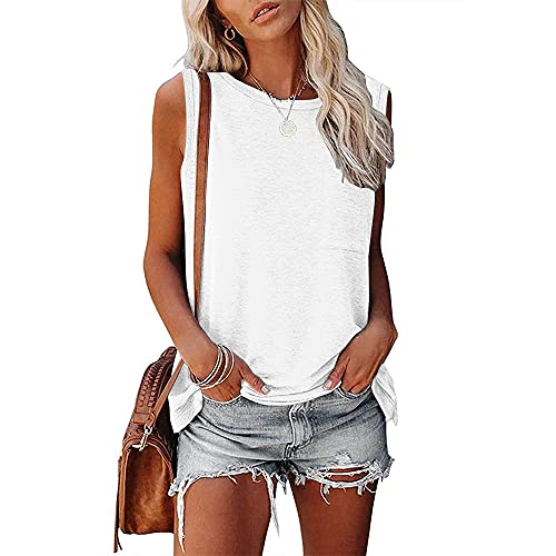 Mayntop Camiseta sin mangas para mujer, para verano, sin mangas, cuello redondo, ajuste holgado, talla grande