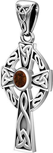 US Jewels Small 925 Sterling Silver Irish Celtic Knot Cross Genuine Garnet January Birthstone Pendant, 23mm