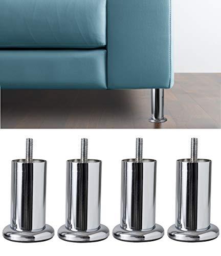 IPEA 4X Gambe per Divani, Mobili, Armadi, Poltrone Modello Acquamarina – Set di 4 Piedi in Ferro – Piedini dal Design Minimal Colore Metallo Cromato, Altezza 100 mm