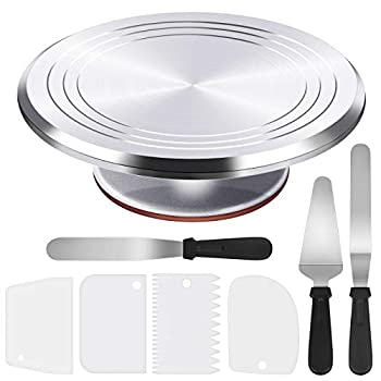 Puroma 8-in-1 Aluminium Alloy Rotating Cake Turntable 12   Revolving Cake Decorating Stand with 3 Angled Icing Spatula 3 Icing Comb for Pastries Cupcakes and Cake Decorations