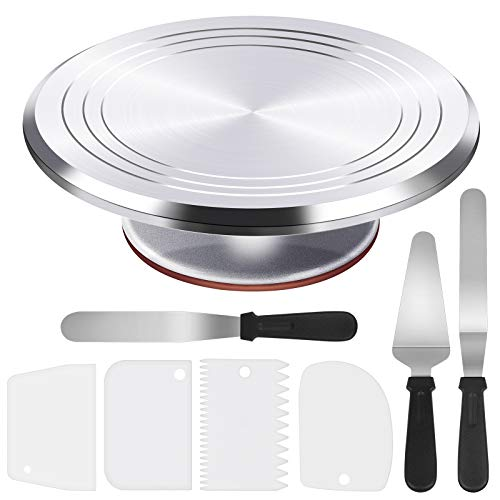 Puroma 8-in-1 Aluminium Alloy Rotating Cake Turntable 12'' Revolving Cake Decorating Stand with 3 Angled Icing Spatula, 3 Icing Comb for Pastries, Cupcakes and Cake Decorations