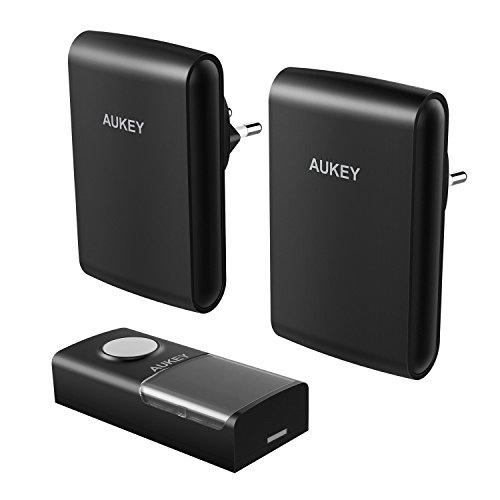 AUKEY Funkklingel Mobile Kabellose Tür Klingel mit LED Anzeige Haustürklingel, 2 Empfänger 1 Sender (Schwarz, WD-TD03)