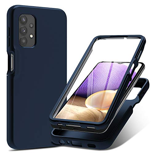 PULEN for Samsung Galaxy A32 5G Case with Built-in Screen Protector,Rugged PC Front Cover + Soft Liquid Silicone Non-Slip Back Cover, Shockproof Full-Body Protective Case Cover - Blue