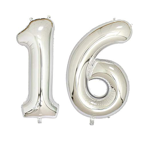 40 inch Jumbo Silver Number Balloons for Birthday Party, Anniversary Decoration … (Silver16)