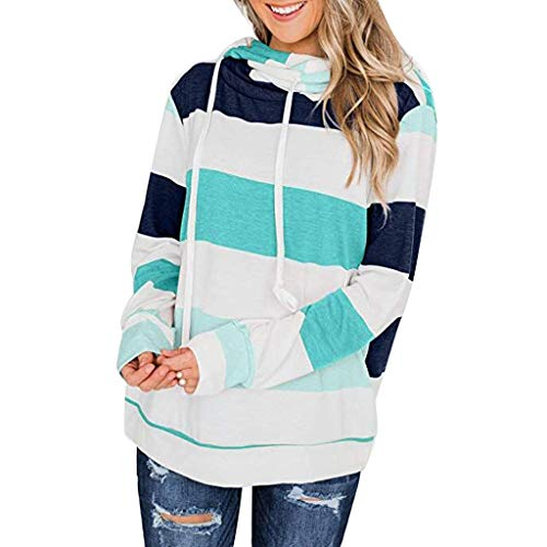 Great Price! NANTE Top Loose Women's Blouse Baggy Striped Hoodies Sweatshirt Jumper Pullover Tops Womens Clothes Ladies Clothing (Green, XL)