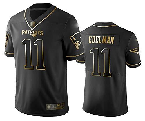 #11 Herren American Football Trikot Julian Edelman Rugby Sportbekleidung American Football Trikot T-Shirt Wettkampf Trainingsbekleidung, 123, Schwarz , XL(185~190)