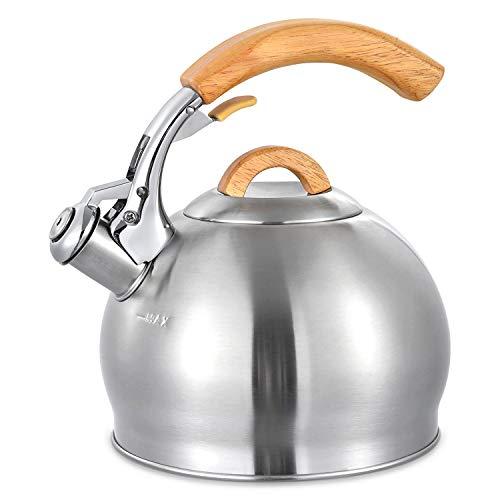 Tetera de acero inoxidable con mango de madera real para estufa, hervidor de agua de 3 cuartos
