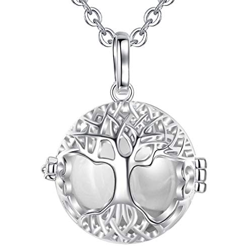 Eudora Harmony Tree of Life Necklace, with Music Chime Ball Locket Pendant Necklace for Women Girls Ladies Nice Jewelry Gift, 30'+45' Chain