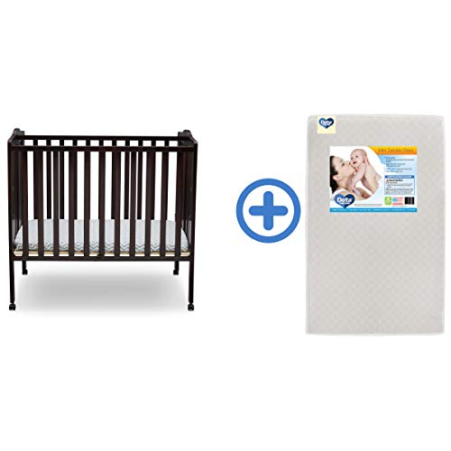 Delta Children Folding Portable Mini Baby Crib & Twinkle Stars 3-Inch Waterproof Portable Crib Mattress, Dark Chocolate