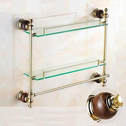 SLINGDA antieke dubbele planken dressoir tafel met badkamer houder gouden jade marmer glas plank handdoek rek hanger badkamer plank glas