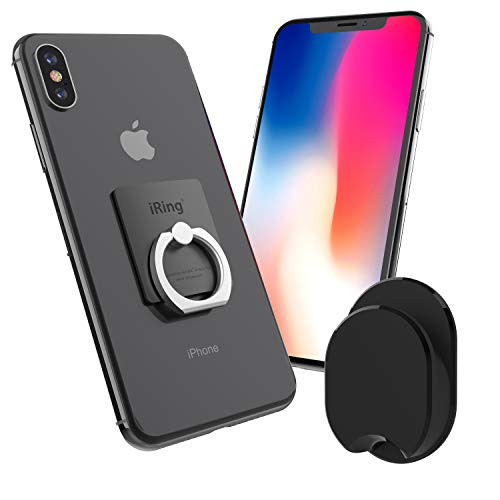 iRing with Hook for car or Wall mounting. Original AAUXX Cell Phone Grip Finger Holder, Mobile Stand, Kickstand, Car Mount Cradle for iPhone, Samsung, Android, Smartphones, Tablets.(Grey)