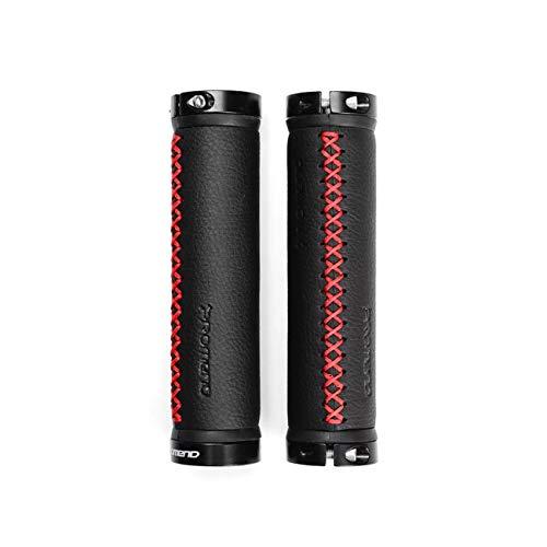 Mishuo 自転車 グリップ 22.2mm クロスバイク ロードレーサー BMX 自転車 ハンドルグリップ 交換 おしゃれ レザー 自転車 パーツ ハンドル アルミ製ロック機能つき 軽量 (優雅なデザイン(赤))