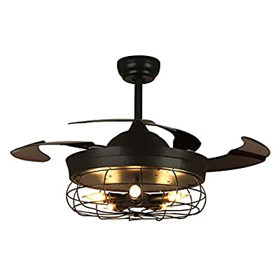 NOXARTE Industrial Ceiling Fan with Lights and Remote Control Retractable Blades Chandelier Lighting Fixture for Bedroom Living Room 36 Inch