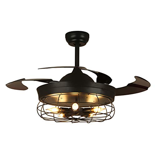 APBEAMLighting Industrial Ceiling Fan Light Vintage Pendant Lamp Fan Retractable Reverse Blades with Remote Control for Living Room Bedroom Black 36 Inch 5 Lights 4 Fan Blades