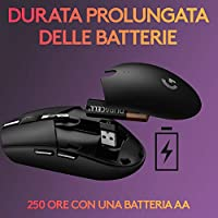 Logitech G305 LIGHTSPEED Mouse Gaming Wireless, Sensore 12K HERO, 12.000 DPI, Design Leggero, 6 Pulsanti Programmabili, Batteria 250 Ore, Memoria Integrata, PC/Laptop - Nero #3