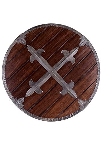 Battle-Merchant Rundschild aus Holz mit Stahlbeschlägen | Wikinger Mittelalter Schild für Erwachsene | Wikingerschild