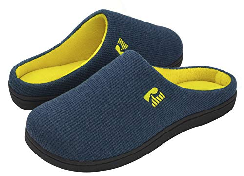 RockDove Men's Original Two-Tone Memory Foam Slipper, Size 9-10 US Men, Blue/Maize