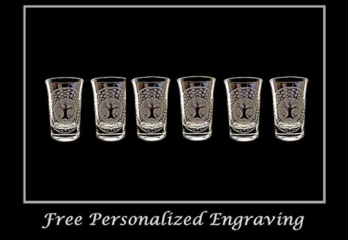 Celtic Tree of Life Shot Glass Set of 6 - Free Personalized Engraving