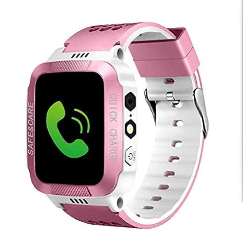 Greetuny - Reloj Inteligente para niños, Pantalla de 1,44 Pulgadas, GPS, Ranura para Tarjeta SIM, antipérdida, Alarma SOS Polvere Bianco