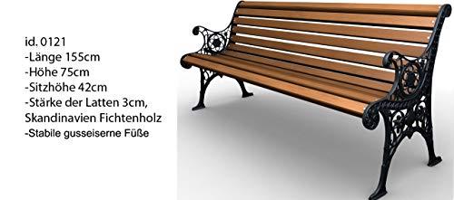 Parkbank Gartenbank Gusseisen Massiv Holz Kiefer Gestell Gartenmöbel Sitzbank (0121) - 3