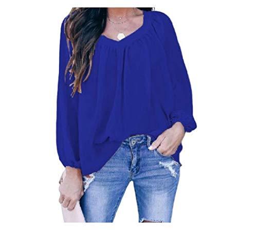 Losait Women Stylish Mid-Length Chiffon Bowknot Pure Color Long Sleeve Tee T-Shirt Blue XL