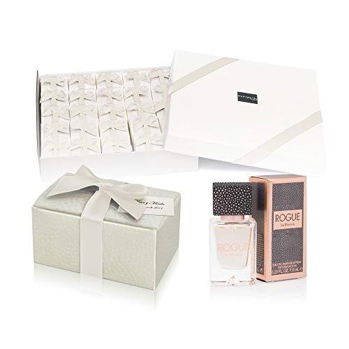 Pack 24 perfumes miniaturas originales de mujer como detalles para bodas colonias Rihanna Rogue Eau de parfum 7,5 ml. spray personalizados para regalar invitados primera comunión y bautizo