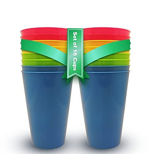 Vasos Plastico Duro Niños y Adultos (16 uds) Vasos Libres de BPA 450ml Vasos Camping Plastico Colores. Vasos Plastico Duro Reutilizables para Fiestas