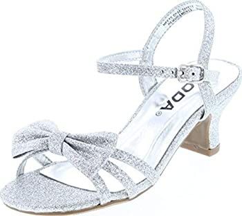 Soda Girls Girly-Ii Children s Open Toe Bow Slingback Small Block Heel Dress Sandals,Silver Glt,3