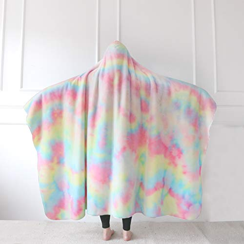 Sleepwish Fuzzy Unicorn Blanket with Hood Cute Rainbow Hooded Blanket Faux Fur Hoodie Blanket Long Shaggy Hair Reversible Blanket Pastel Pink Green Sherpa Fleece Blanket for Adults Women (63'x79')
