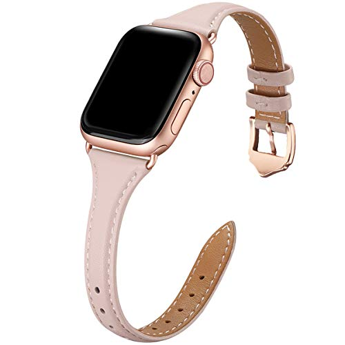 WFEAGL Compatibile con Cinturino Apple Watch 42mm 44mm, Multicolore Ultrasottile Pelle Sportive Cambiamento Cinturini Compatibile con iWatch Serie 5/4/3/2/1(42mm 44mm,Rosa Chiaro+Adattatore Oro Rosa)