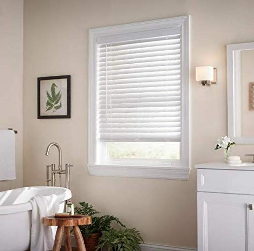 White Cordless 2 in. Faux Wood Blind - 22 in. W x 64 in. L (Actual Size 21.5 in. W x 64 in. L)