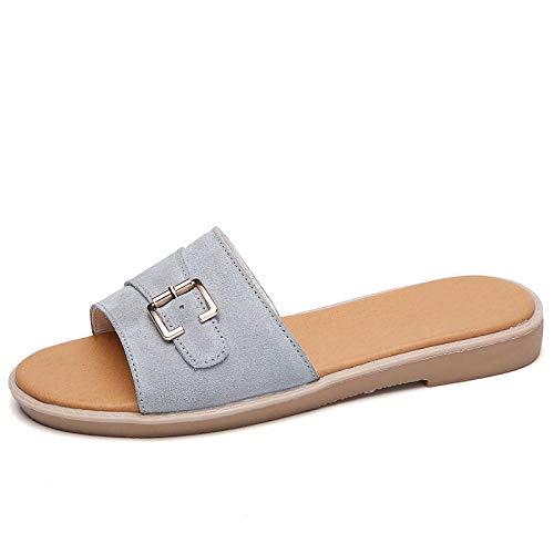 Nwarmsouth massage slippers women,Flat non-slip flip-flops, platform ladies sandals-grey_UK4.5,Women/Men's Slip On Slippers