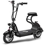 Rxrenxia Bicicleta Plegable Eléctrica, Adulto De Dos Ruedas Mini Bicicleta De Pedales De Aluminio Plegable del Coche Ligero Y Eléctrico para Hombres Y Mujeres Adultos,Negro