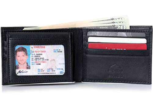 Alpine Swiss Mens Leather Wallet 2-In-1 Bifold Flip up Removable Card Case Black