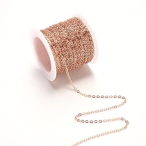 1 Pcs Cadena de Metal, Cadena de Joyeria, Cadenas para Collares, Cadena de Eslabones Metálicos Para Bricolaje, Fiestas de Manualidades, Producción de Accesorios de Joyería de Collar (Oro Rosa)