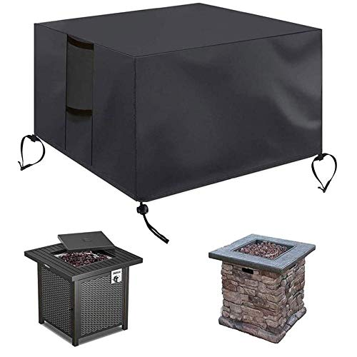 Gas Fire Pit Cover Square | Heavy Duty Patio Outdoor Fire Pit Table Cover with Pu Coating | Rainproof and Windproof All-Season Protection Table Cover-Black(30x30x25 Inch)